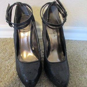 Wet seal black sequin heels